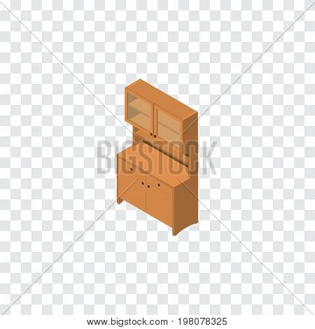 Cupboard Vector Element Can Be Used For Cupboard, Closet, Wardrobe Design Concept.  Isolated Wardrobe Isometric.