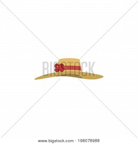 Elegant Headgear Vector Element Can Be Used For Woman, Hat, Headgear Design Concept.  Isolated Woman Hat Flat Icon.