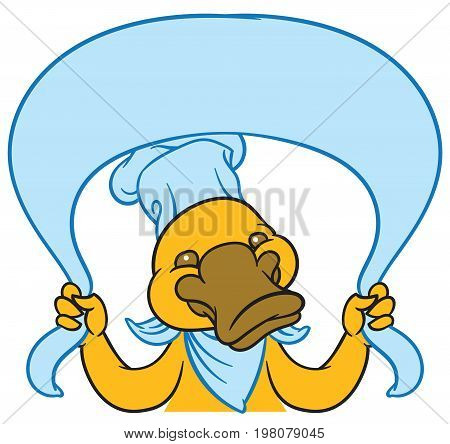 Funny happy cartoon platypus or duckbill - vector logo, tablet and nameplate or sign template
