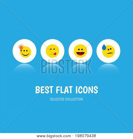 Flat Icon Face Set Of Have An Good Opinion, Tears, Delicious Food And Other Vector Objects