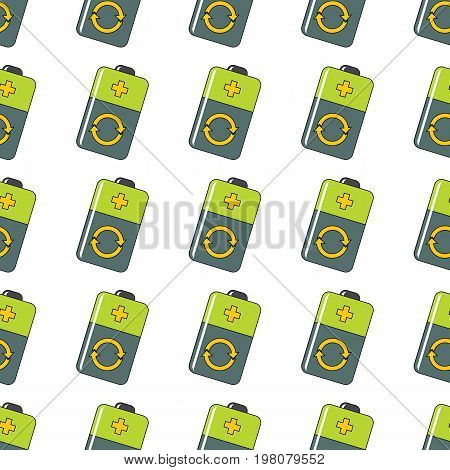 Recharge battery seamless pattern in cartoon style isolated on white background vector illustration for web