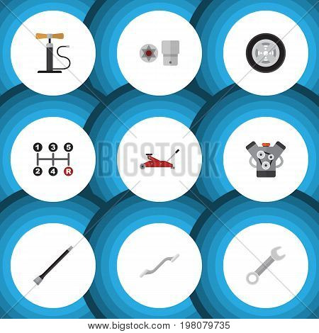 Flat Icon Workshop Set Of Motor, Carrying, Turnscrew And Other Vector Objects