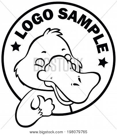 Funny happy cartoon platypus or duckbill vector logo or sign black and white template
