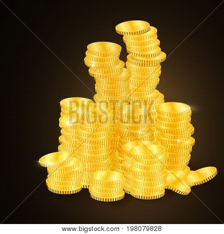 Many Stacks Of Gold Coins.