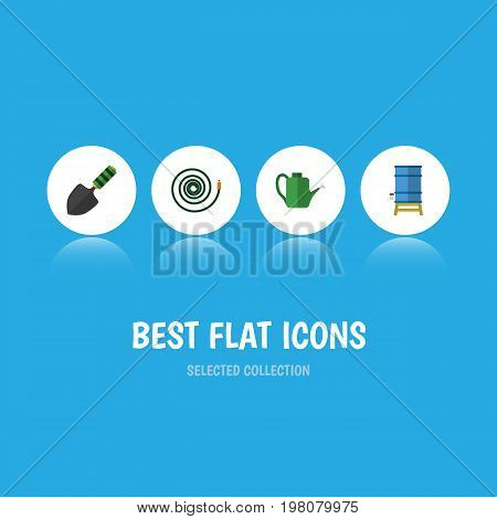 Flat Icon Garden Set Of Container, Bailer, Trowel And Other Vector Objects