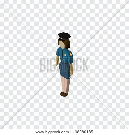 Policewoman Vector Element Can Be Used For Policewoman, Officer, Female Design Concept.  Isolated Officer Isometric.