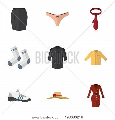 Flat Icon Clothes Set Of Foot Textile, Banyan, Sneakers And Other Vector Objects
