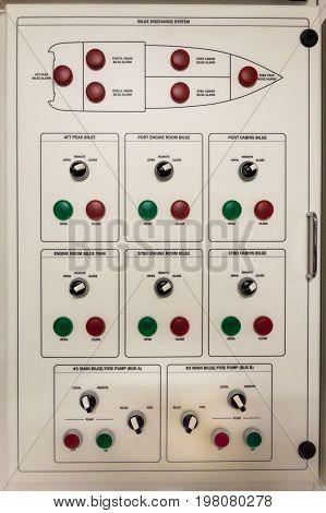 Main electric control board inside a ship