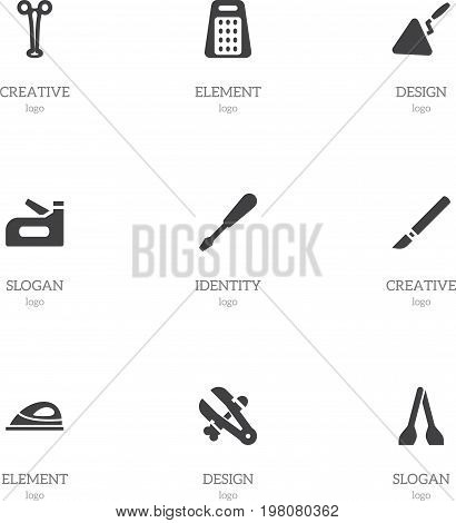 Set Of 9 Editable Tools Icons. Includes Symbols Such As Shredder, Forceps, Appliance And More