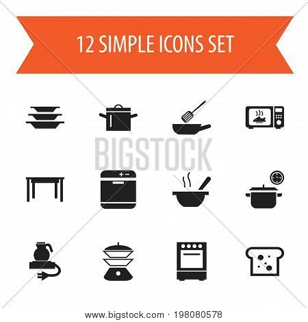 Set Of 12 Editable Cooking Icons. Includes Symbols Such As Bowl, Electric Kettle, Multicooker And More