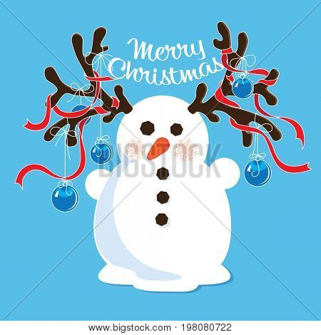 Cartoon snowman with decorated antlers. Christmas card design