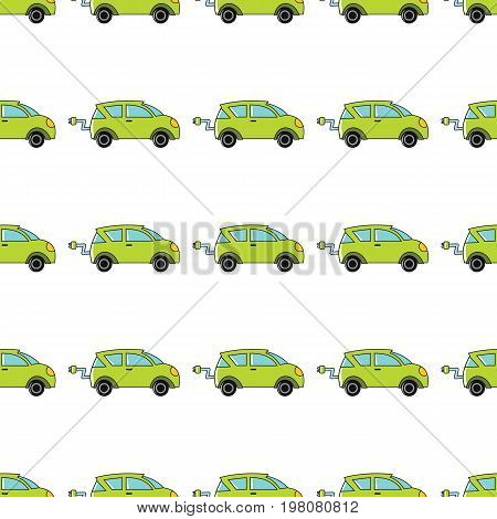 Electro car seamless pattern in cartoon style isolated on white background vector illustration for web