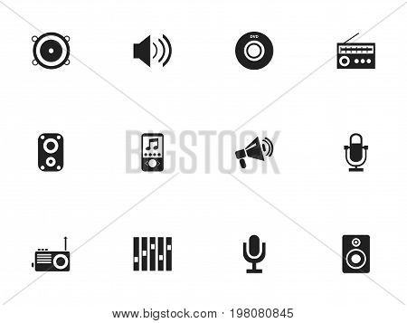 Set Of 12 Editable Mp3 Icons. Includes Symbols Such As Volume Speaker, Digital Versatile Disc, Recorder And More
