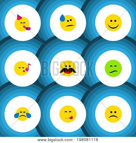 Flat Icon Emoji Set Of Tears, Party Time Emoticon, Delicious Food And Other Vector Objects