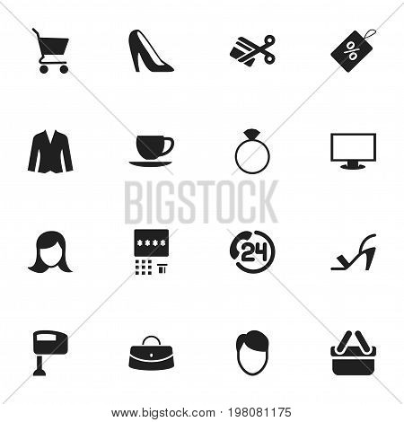 Set Of 16 Editable Shopping Icons. Includes Symbols Such As Stir, Jewelry, Cardigan And More