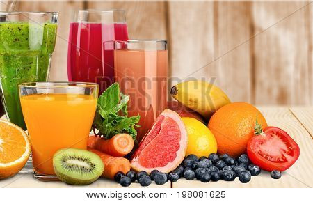 Juice glasses various healthy lifestyle healthy food low calorie organic food