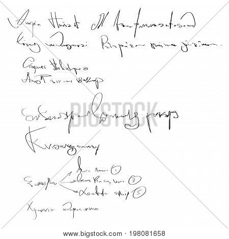 Vector Illegible Handwriting. Black And White Script Background. Sketch Of Writing Calligraphy Templ