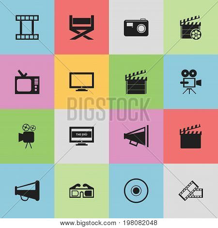 Set Of 16 Editable Movie Icons. Includes Symbols Such As 3D Glasses, Compact Disk, Movie Action And More