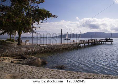 Pier In Sao Francisco Do Sul. Santa Catarina. July, 2017.