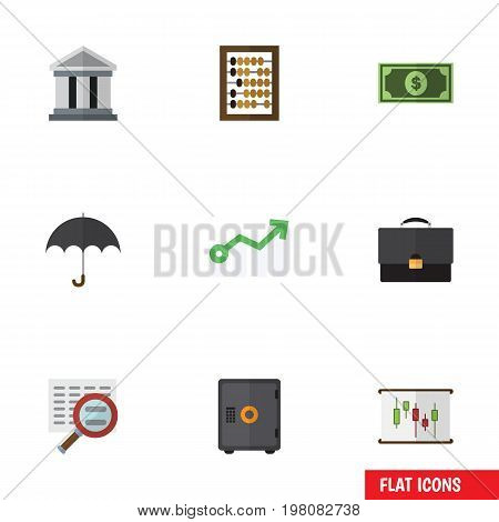Flat Icon Gain Set Of Greenback, Parasol, Scan And Other Vector Objects