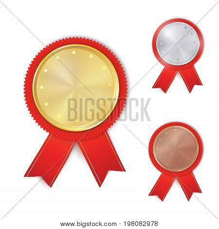 Set of gold, silver and bronze award medals. Rosettes with red ribbons. Medal, rosette vector collection isolated on white background. Premium badges. Winner awards.