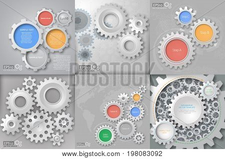 Big vector set. Gear relationship for business concepts. Can be used for info-graphic, advertising printing, website, modern template, education template, business brochure or system diagram
