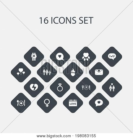 Set Of 16 Editable Heart Icons. Includes Symbols Such As Pounce, Woman Symbol, Plate And More