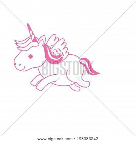 silhouette cute unicorn with horn and wings design vecto illustration