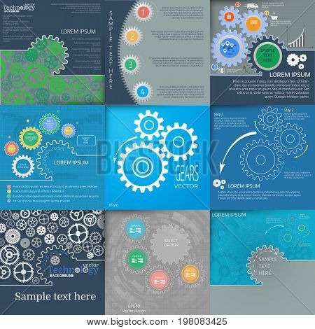 Big vector set. Circular infographic. Chart, diagram, graph with gears. Cover vector template.