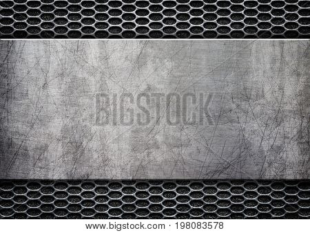 Grunge Metal Background With Shiny Metal Plate, 3D, Illustration