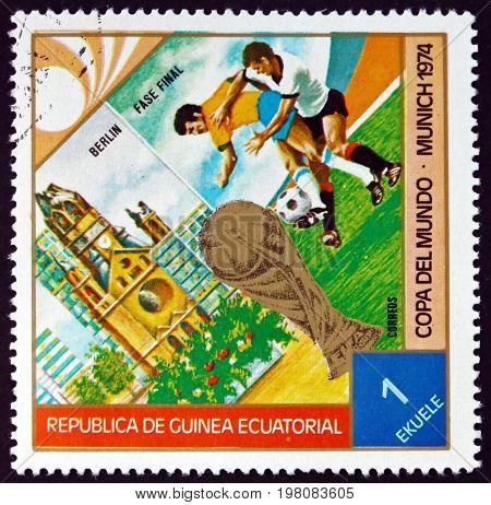 EQUATORIAL GUINEA - CIRCA 1974: a stamp printed in Equatorial Guinea dedicated to World Cup Fotball Munich 74 circa 1974
