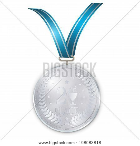 Champion silver medal with blue ribbon on white background. Second place.