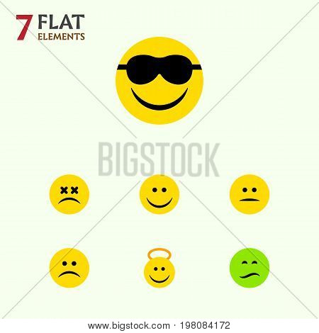 Flat Icon Expression Set Of Displeased, Cross-Eyed Face, Frown And Other Vector Objects