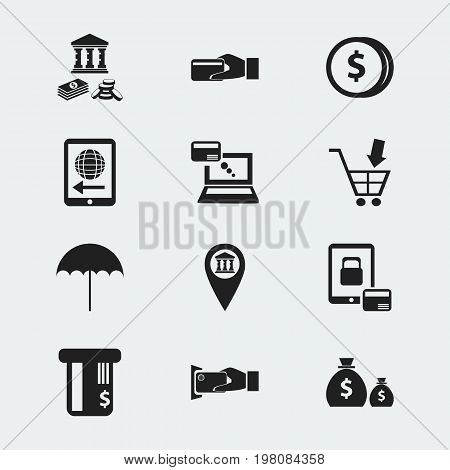 Set Of 12 Editable Investment Icons. Includes Symbols Such As Pinpoint, Tax, Shopping Pushcart And More
