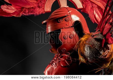 Ancient Praetorian, red armor for women with Roman helmet, adaptation of the classic style to one of fantasy.