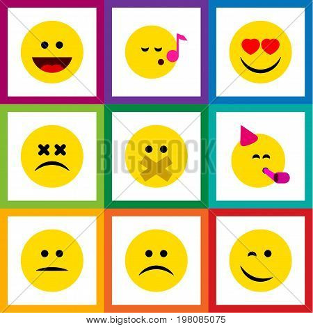 Flat Icon Gesture Set Of Party Time Emoticon, Laugh, Displeased And Other Vector Objects
