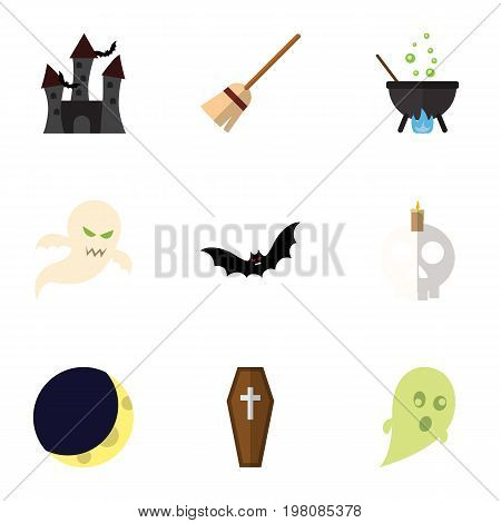 Flat Icon Celebrate Set Of Ghost, Cranium, Magic And Other Vector Objects