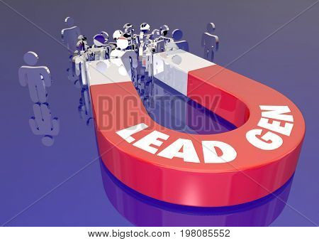 Lead Generation Marketing Magnet Attracting Customers Audience People 3d Illustration