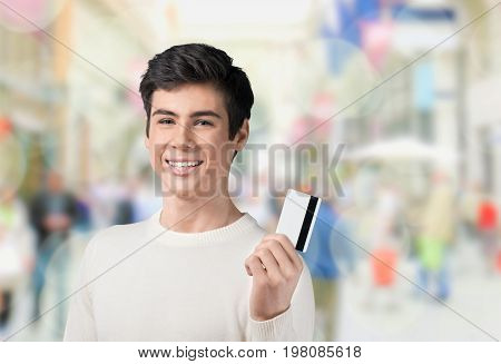 Teenager card credit toothy smile one person human face youth culture