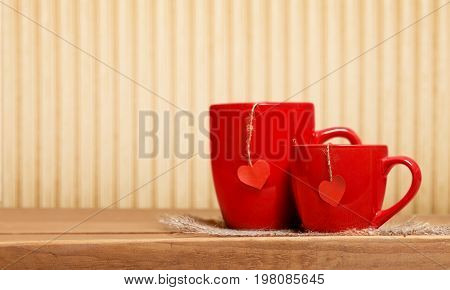 Love romance concept table red white background