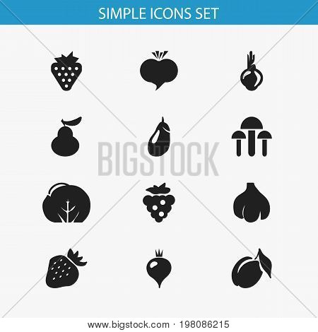 Set Of 12 Editable Fruits Icons. Includes Symbols Such As Radish, Turnip, Champignon And More