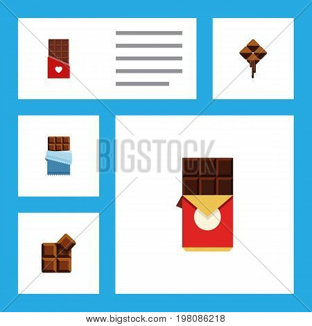 Flat Icon Bitter Set Of Bitter, Delicious, Chocolate Bar And Other Vector Objects