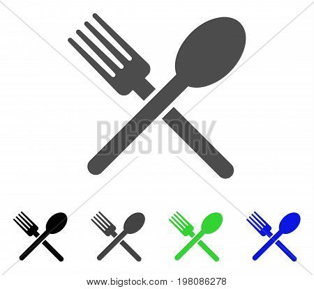 Fork And Spoon flat vector illustration. Colored fork and spoon, gray, black, blue, green icon variants. Flat icon style for application design.