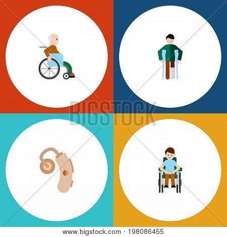 Flat Icon Disabled Set Of Disabled Person, Injured, Audiology And Other Vector Objects