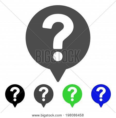 Help Balloon flat vector pictogram. Colored help balloon, gray, black, blue, green pictogram variants. Flat icon style for web design.