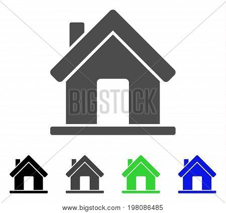 Home flat vector icon. Colored home, gray, black, blue, green pictogram versions. Flat icon style for application design.