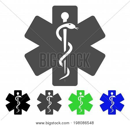 Life Star Medical Emblem flat vector pictogram. Colored life star medical emblem, gray, black, blue, green icon variants. Flat icon style for web design.
