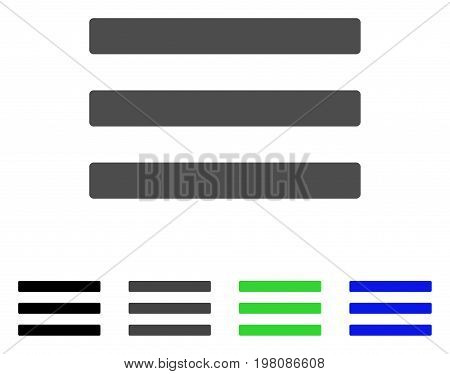 Menu flat vector icon. Colored menu, gray, black, blue, green icon variants. Flat icon style for application design.
