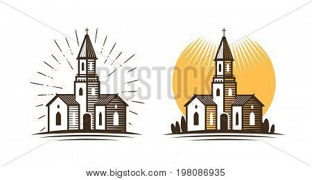 Church logo. Religion, faith, belief icon or symbol. Vector illustration isolated on white background
