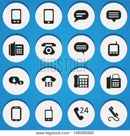 Set Of 16 Editable Phone Icons. Includes Symbols Such As Tablet, Smartphone, Chatting And More